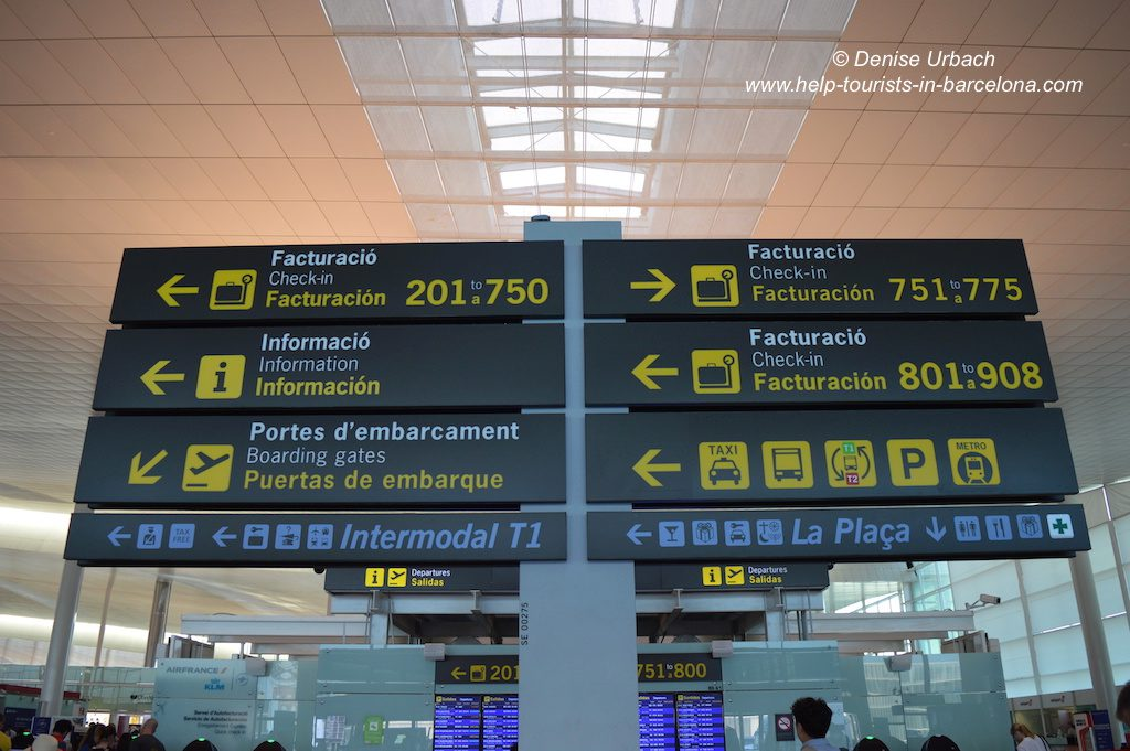 Infoschild Flughafen El Prat Barcelona